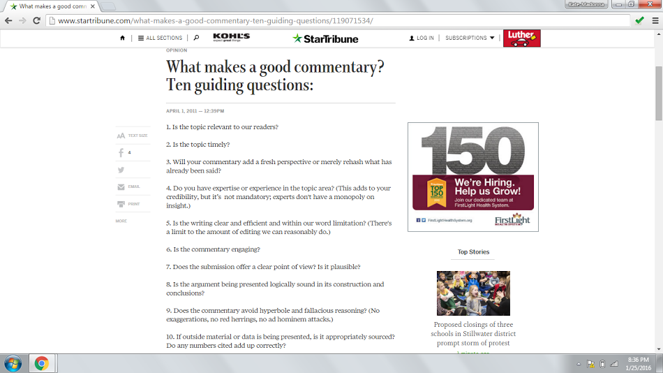 Star Tribune Commentary Guidelines
